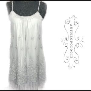 Anthropologie Areve Gray Lace and Tulle Dress H144